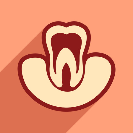 carious: Icon of tooth gums in flat style