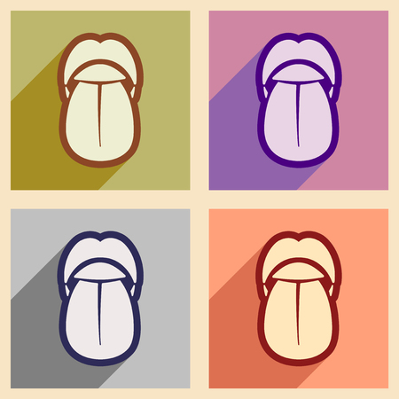 tease: Icons of assembly human tongue in flat style