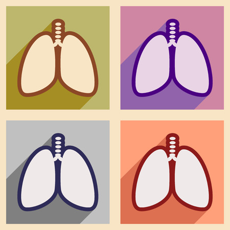respire: Icons of human lungs assembly in flat style