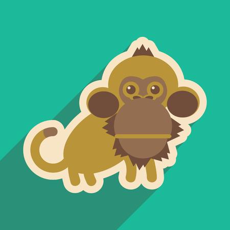 liana: flat icon with long shadow happy monkey
