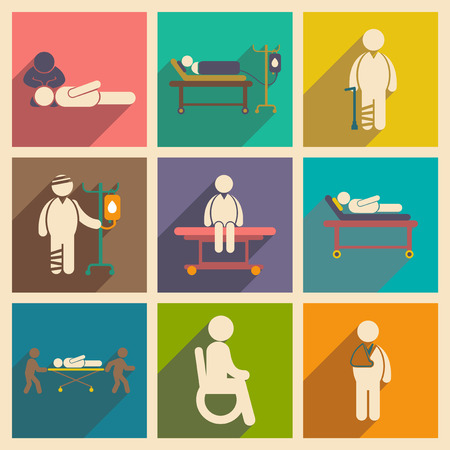 patients: Modern flat icons collection with long shadow patients