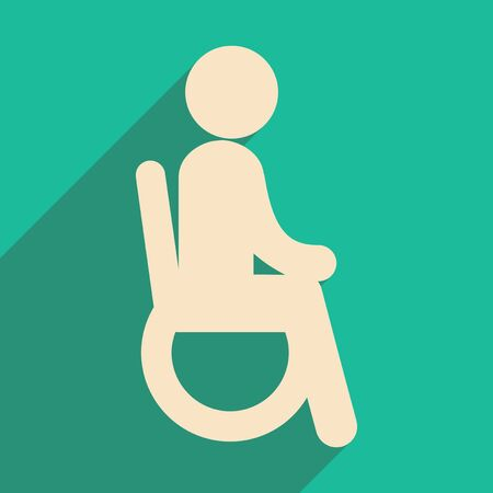 paralyze: Modern flat icon with long shadow People wheelchair