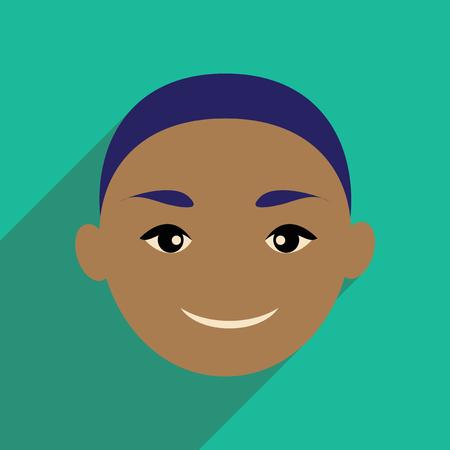 indian boy: Modern flat icon with long shadow Indian boy