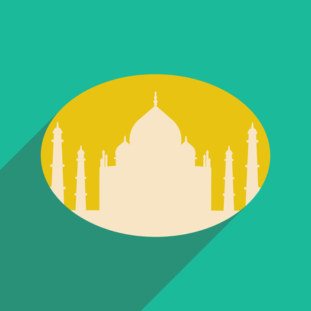 mahal: Modern flat icon with long shadow Indian Taj Mahal