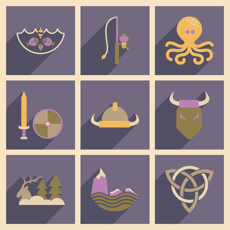 norse: Concept of flat icons with long  shadow Norse