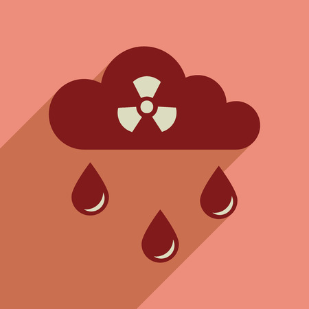 toxins: Flat web icon with long  shadow toxic rain