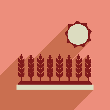 wheat field: Flat web icon with long  shadow Wheat field Illustration