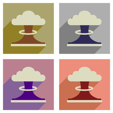 toxic cloud: Concept of flat icons with long   shadow nuclear explosion Illustration
