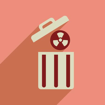 residuos toxicos: icono de banda plana con residuos t�xicos larga sombra