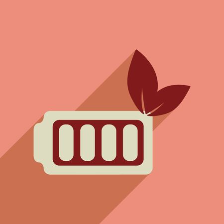 watt: Flat web icon with long  shadow eco battery Illustration