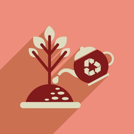flowerpots: Flat web icon with long  shadow watering fertilizer Illustration