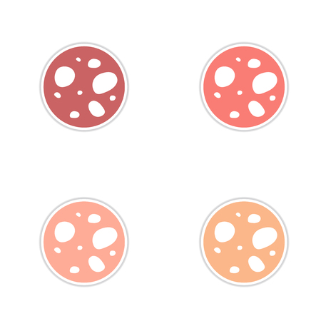cosmo: Set of paper stickers on white  background planet