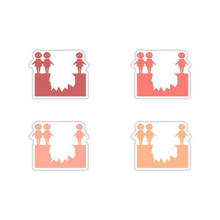 abyss: Set of paper stickers on white  background  people abyss
