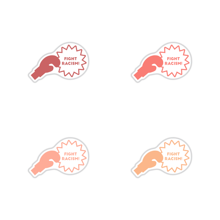 racism: Set of paper stickers on white  background  racism