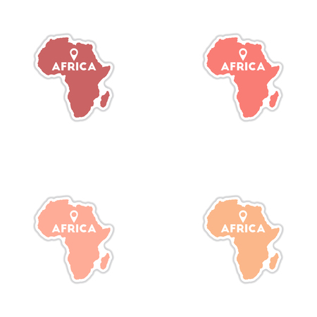 equator: Set of paper stickers on white  background Africa map Illustration