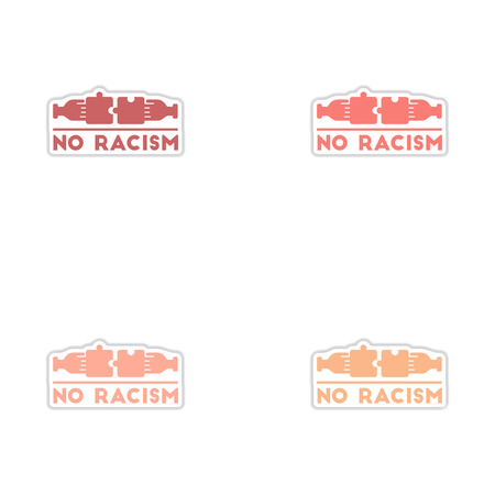 racial: Set of paper stickers on white  background no racism