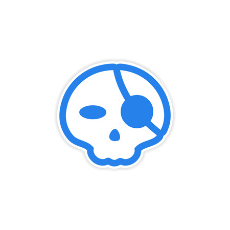 eye patch: sticker stylish skull with eye patch on white background Illustration
