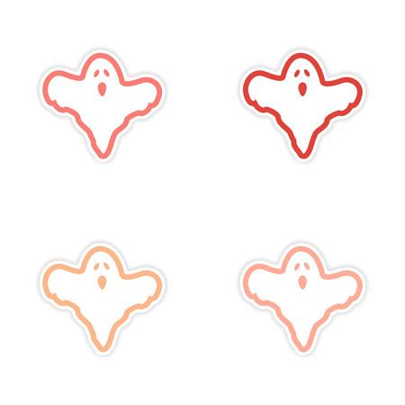poltergeist: assembly realistic sticker design on paper ghost Illustration