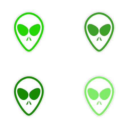 abduct: Sticker assembly alien with big eyes on a white background Illustration
