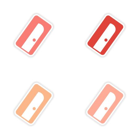 pencil and paper: assembly realistic sticker design on paper pencil sharpener Illustration