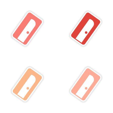 lapiz y papel: diseño de etiqueta montaje realista sobre los sacapuntas de lápiz de papel Vectores