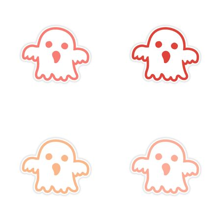 assembly: assembly realistic sticker design on paper ghost Illustration