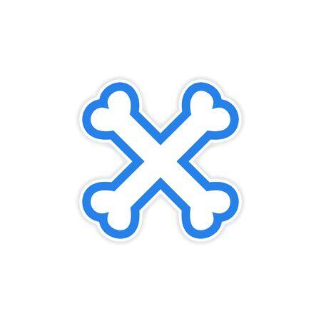 cross bones: sticker cross bones stacked on a white background Illustration