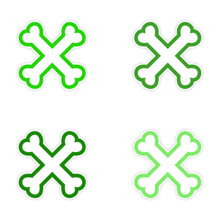 cross bones: assembly sticker cross bones stacked on a white background Illustration