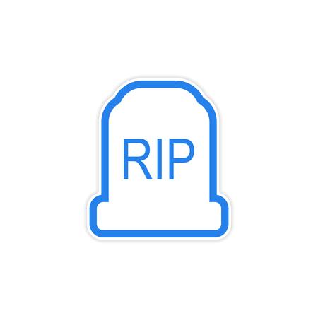 headstone: sticker bright headstone on a white background