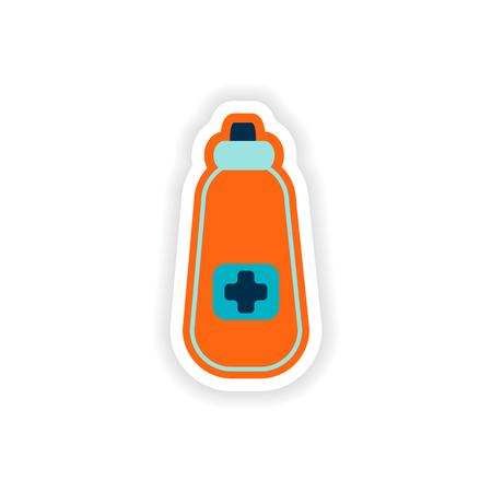 bottle of medicine: paper sticker on white background medicament in bottle Illustration