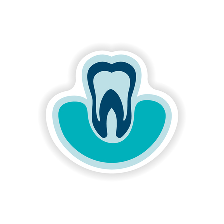 dentin: paper sticker on white background tooth in gums