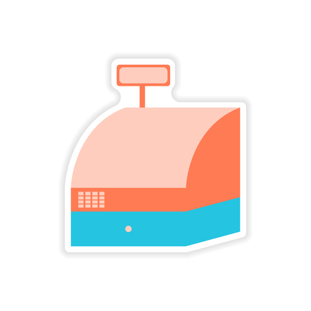 checkout counter: stylish sticker on paper cash register shopping