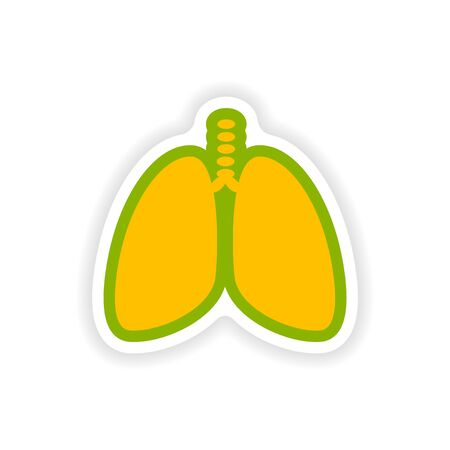 exhale: paper sticker on white background human lungs Illustration