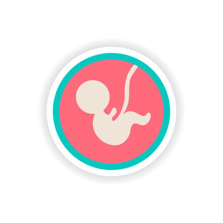 papier sticker op een witte achtergrond kind in de baarmoeder