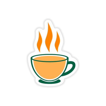 ceylon: paper sticker Indian tea cup on white background