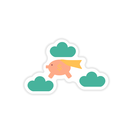 pig with wings: stylish sticker on paper piggy bank in the clouds Illustration