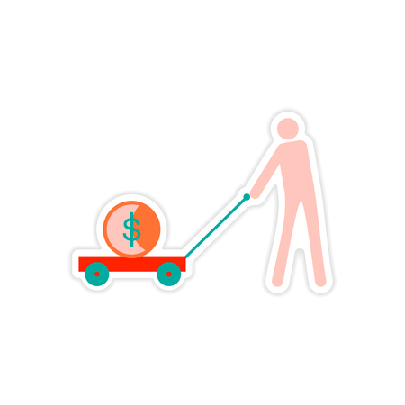 grocer: stylish sticker on paper people money in trolley