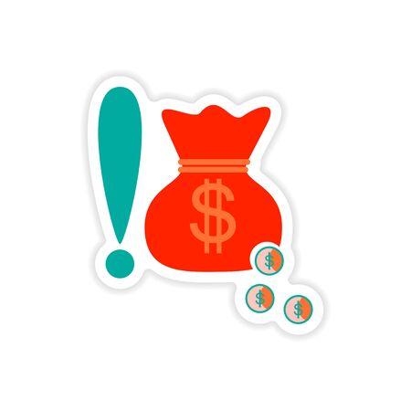 abundance: stylish sticker on paper bag money and coins