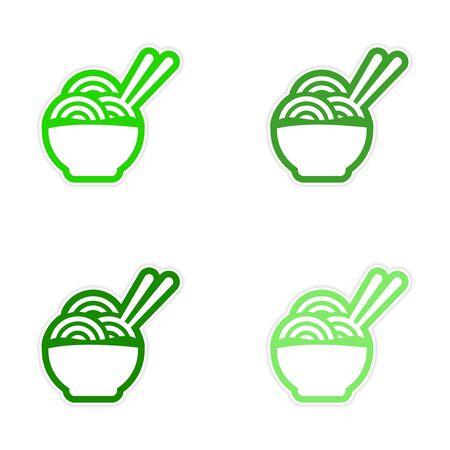 chopsticks: assembly sticker Asian dish of noodles and chopsticks