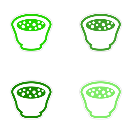 chineese: assembly sticker miso soup plate on a white background Illustration