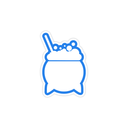 to boiling: sticker pot of boiling potion on a white background