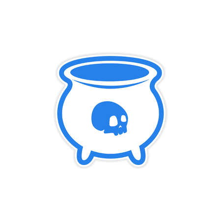 witchery: sticker witches cauldron with a skull on white background
