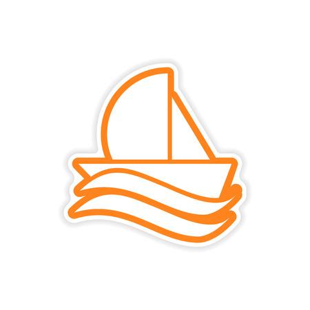 sailing ship: paper sticker sailing ship on white background Illustration