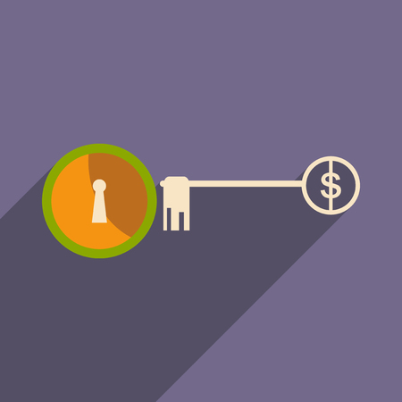 founder: Modern flat icon with shadow key money Illustration