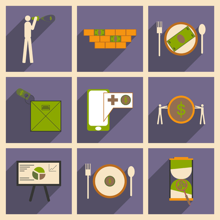 economic: Modern collection flat icons with shadow economic