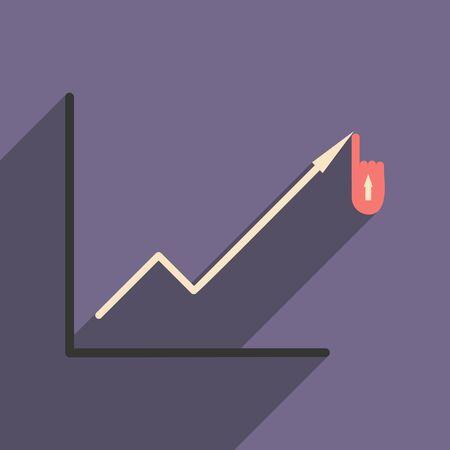 economic: Modern flat icon with shadow economic graph Illustration