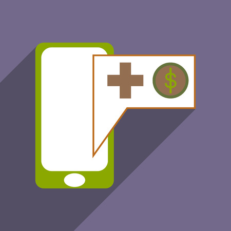 mobile application: Modern flat icon with shadow Mobile application