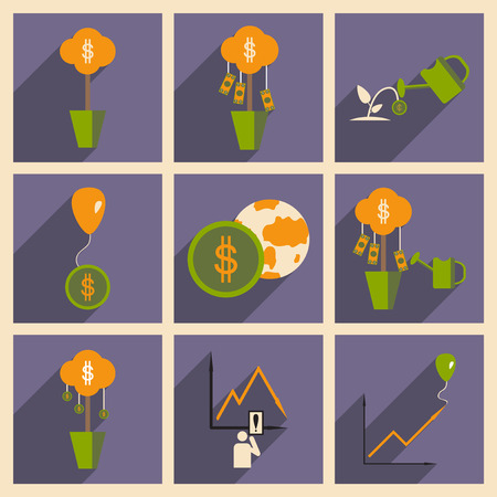 increment: Modern flat icons vector collection with shadow economy money income