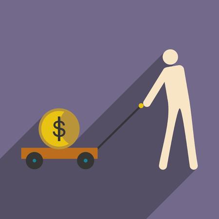 uranium: Flat design modern vector illustration icon Stick Figure economy