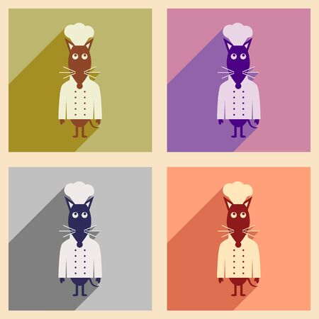 gastronomic: Concept flat icons with long shadow mouse chef Illustration